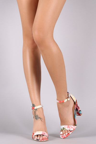 Bamboo Printed Ankle Strap Chunky Heel-Shoes, Heels-Topaze Fashion