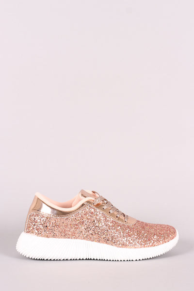 Ridge Sole Glitter Lace Up Sneakers-Shoes, Sneakers-Topaze Fashion