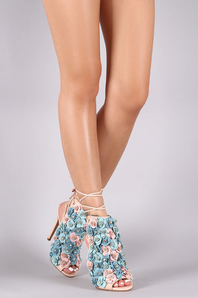 Floral Applique Back Lace-Up Stiletto Mule Heel-Shoes, Heels-Topaze Fashion