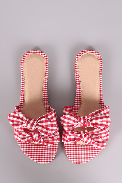 Liliana Gingham Bow Accent Double Band Slide Flat Sandal-Shoes, Sandals-Topaze Fashion
