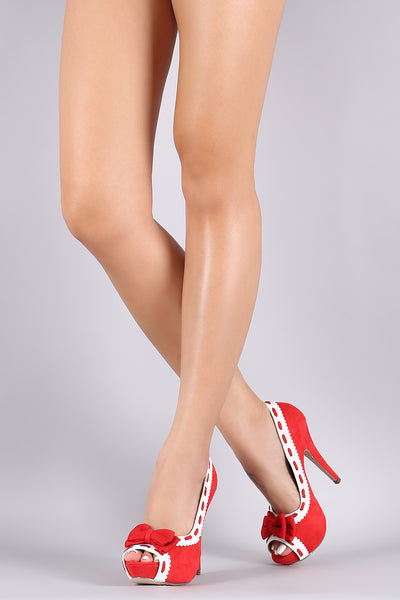 Suede Bow Peep Toe Stiletto Platform Pump-Shoes, Heels, Pumps-Topaze Fashion