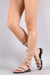 Faux Pearl Embellished Spiral Leg-Wrap Flat Sandal-Shoes, Sandals-Topaze Fashion