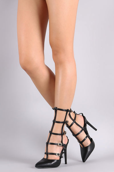 Liliana Pointy Toe Buckle Accent Caged Stiletto Pump-Shoes, Heels, Pumps-Topaze Fashion