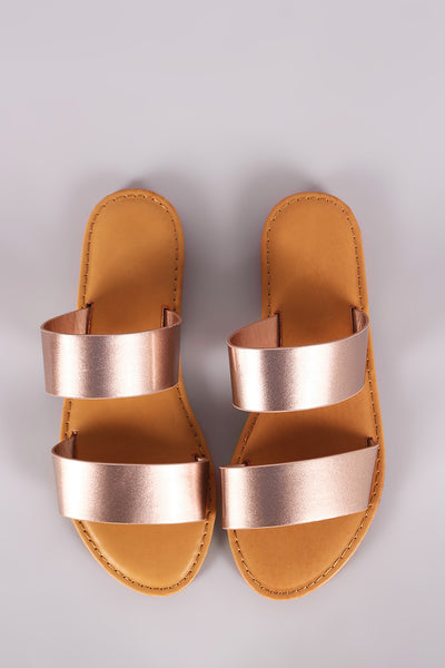 Sunny Feet Patent Double Band Slide Flat Sandals-Shoes, Sandals-Topaze Fashion