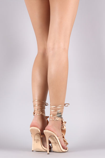 Ruffle Triple Straps Ankle Lace Up Stiletto Heel-Shoes, Heels-Topaze Fashion