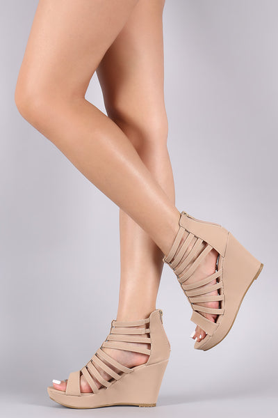 Nubuck Strappy Caged Platform Wedge-Shoes, Wedges-Topaze Fashion