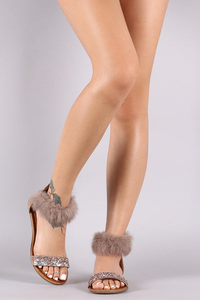Faux Fur Ankle Cuff Rhinestone Encrusted Flat Sandal-Shoes, Sandals-Topaze Fashion