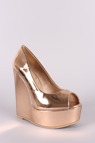 Peep Toe Vegan Patent Leather Platform Wedge-Shoes, Heels, Wedges-Topaze Fashion