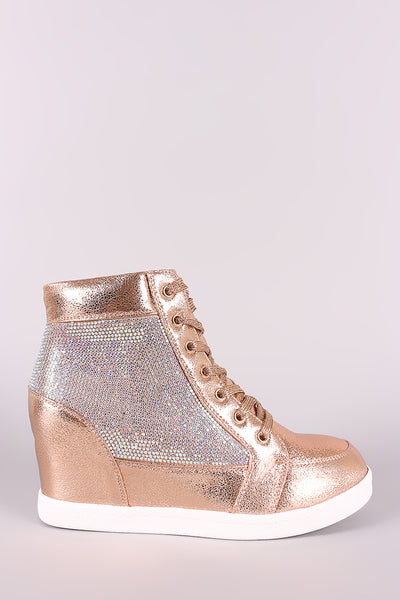 Cracked Metallic High Top Lace Up Wedge Sneaker-Shoes, Sneakers-Topaze Fashion