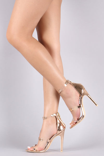 Metallic Patent Clear Inset Triple Straps Stiletto Heel-Shoes, Heels-Topaze Fashion