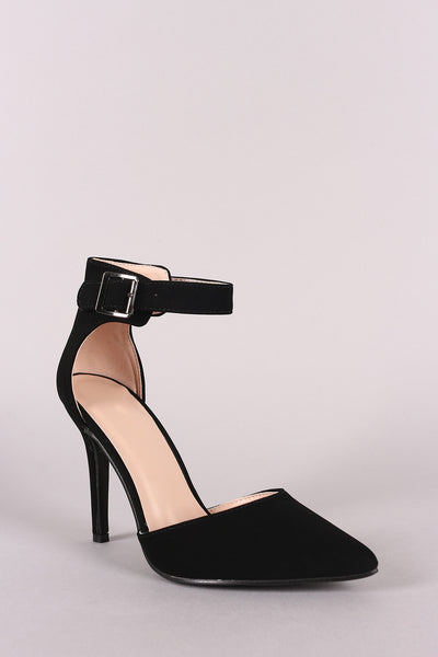 Nubuck Pointy Toe Ankle Strap Pump-Shoes, Heels, Pumps-Topaze Fashion