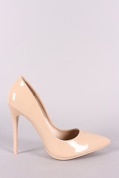 Patent Pointy Toe Sitletto Pump-Shoes, Heels, Pumps-Topaze Fashion