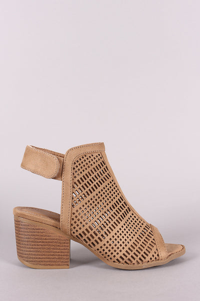 Perforated Suede Peep Toe Chunky Mule Heel-Shoes, Heels-Topaze Fashion