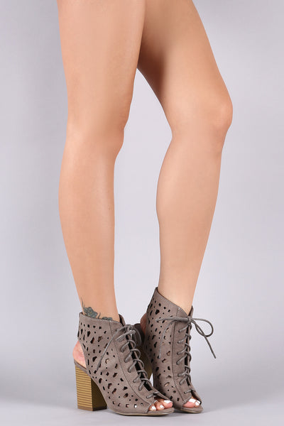 Laser Cutout Lace-Up Peep Toe Chunky Heel Bootie-Shoes, Booties-Topaze Fashion