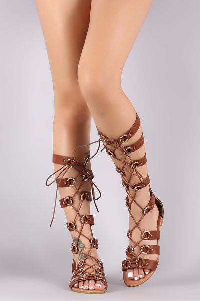 O-Ring Accent Strappy Lace-Up Gladiator Flat Sandal-Shoes, Sandals-Topaze Fashion