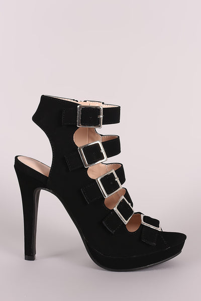 Strappy Nubuck Square Buckle Open Toe Platform Stiletto Heel-Shoes, Heels-Topaze Fashion