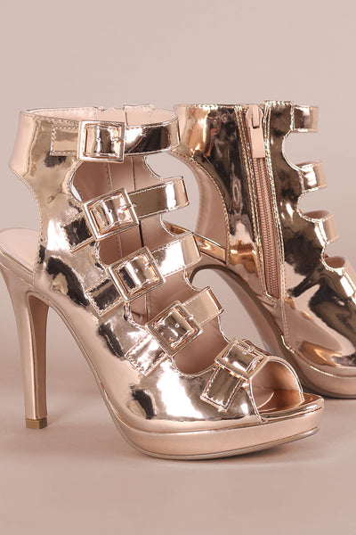 Strappy Metallic Square Buckle Open Toe Platform Stiletto Heel-Shoes, Heels-Topaze Fashion