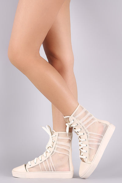 Pleated Sheer Mesh Combat Lace-Up Booties-Shoes, Booties-Topaze Fashion