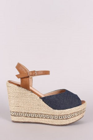 Canvas Peep Toe Hardware Trim Espadrille Platform Wedge-Shoes, Heels, Wedges-Topaze Fashion
