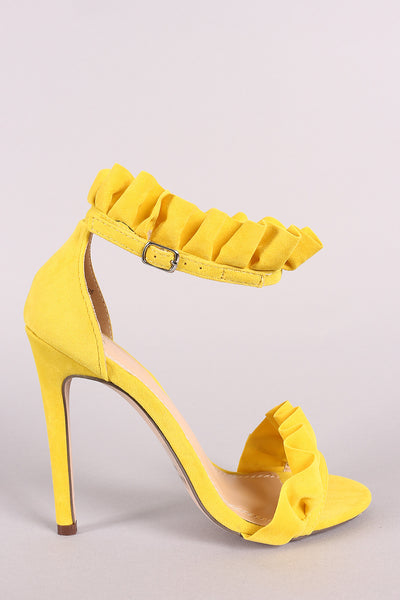 Suede Ruffled Ankle Strap Stiletto Heel-Shoes, Heels-Topaze Fashion