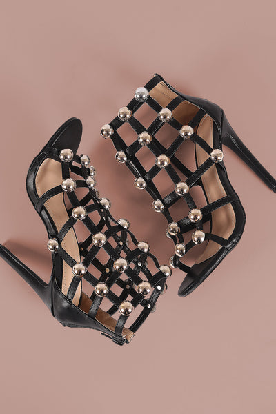 Dome Studded Caged Stiletto Heel-Shoes, Heels-Topaze Fashion