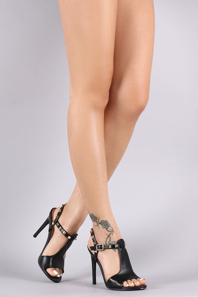 T-Strap Pyramid Studded Stiletto Heel-Shoes, Heels-Topaze Fashion