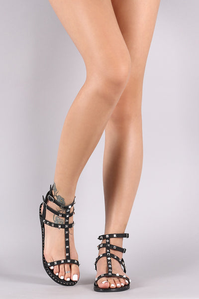 Qupid Studded Strappy Gladiator Flat Sandal-Shoes, Sandals-Topaze Fashion