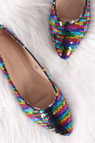 Rainbow Sequins Pointy Toe Flat-Shoes, Flats-Topaze Fashion