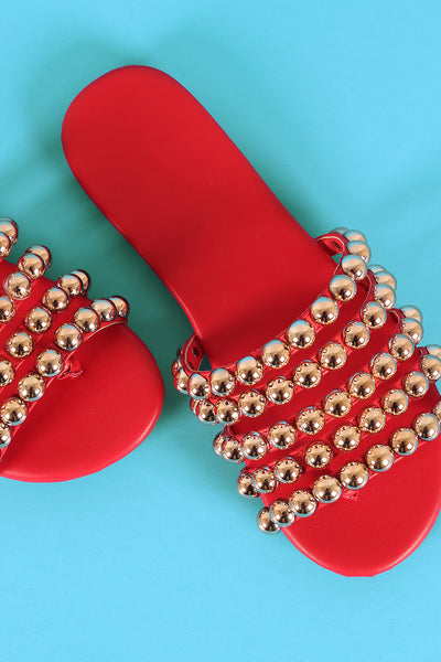 Strappy Dome Studded Thong Slide Sandal