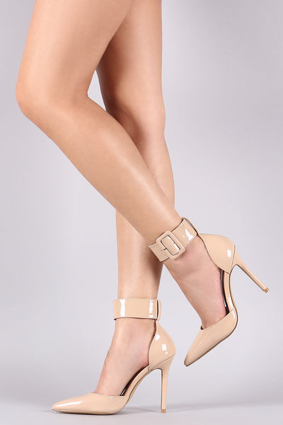 Liliana Patent Ankle Cuff Pointy Toe Pump-Shoes, Heels, Pumps-Topaze Fashion