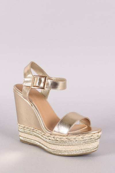 Bamboo Metallic Espadrille Platform Wedge-Shoes, Heels-Topaze Fashion