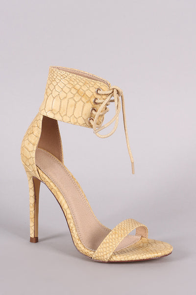 Snake Embossed Ankle Cuff Lace-Up Stiletto Heel-Shoes, Heels-Topaze Fashion