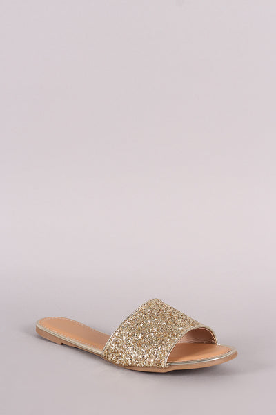 Glitter-Encrusted Open Toe Slide Sandal-Shoes, Sandals-Topaze Fashion