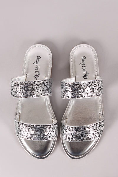 Sunny Feet Sequins Double Band Slide Flat Sandals-Shoes, Sandals-Topaze Fashion
