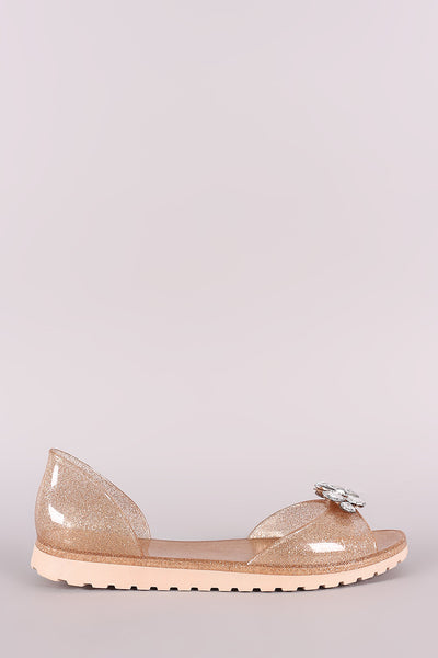 Bamboo Gemstone Glitter Accent Jelly Dorsay Flat-Shoes, Flats-Topaze Fashion