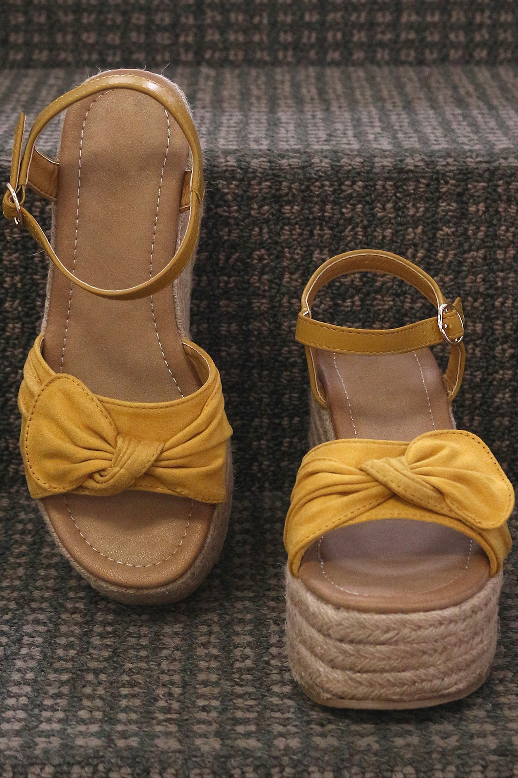 3bca8bfc972 Suede Bow Open Toe Espadrille Platform Wedge - Topaze Fashion
