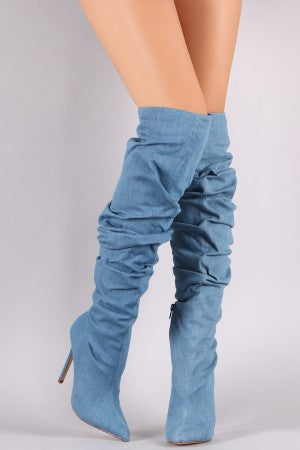 Denim Pointy Toe Slouchy Stiletto Over The Knee Boots Shoes