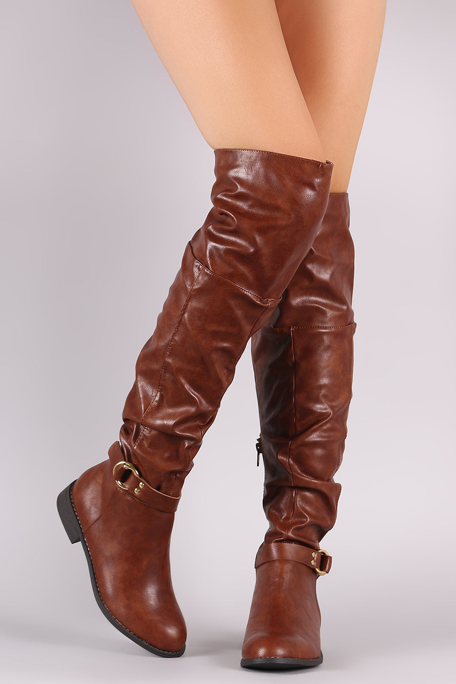 3e7fda3490d Wild Diva Lounge O-Ring Buckle Slouchy Slouchy OTK Boots-Shoes