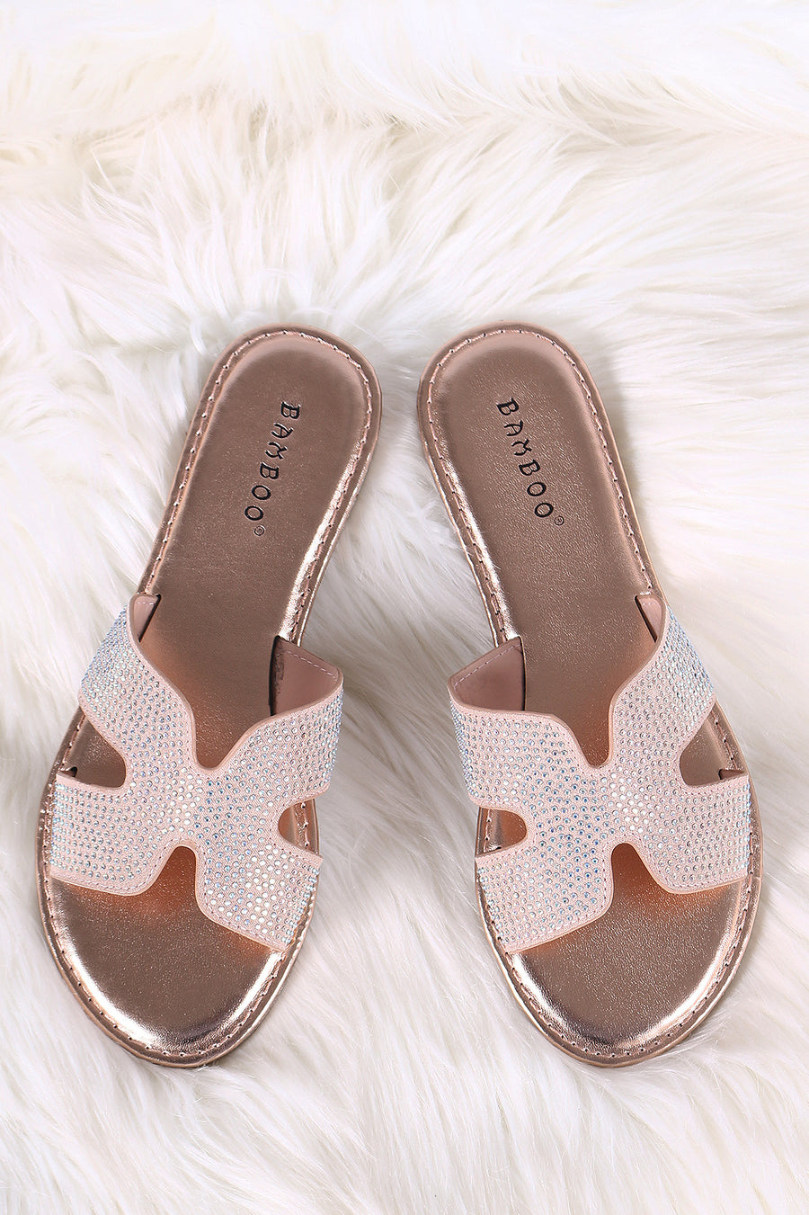 95f6f5c6c89a Bamboo Rhinestone Accent H-Band Open Toe Slide Sandal-Shoes