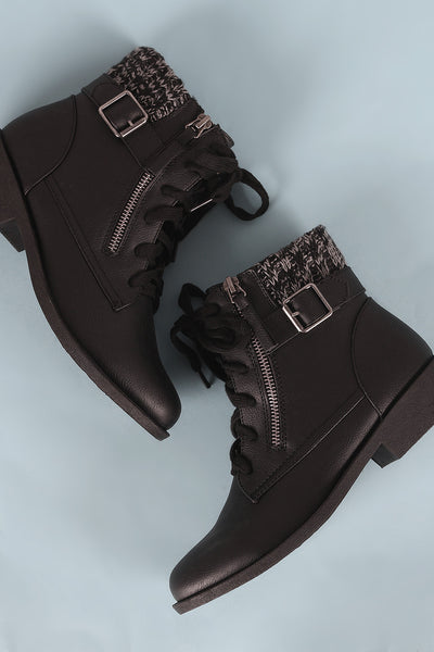 Qupid Buckled And Zipper Sweater Cuff Lace Up Combat Booties