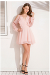 Cold Shoulder Chiffon Mini Dress