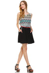 Women's Crochet Detail Belted Sleeveless Dress