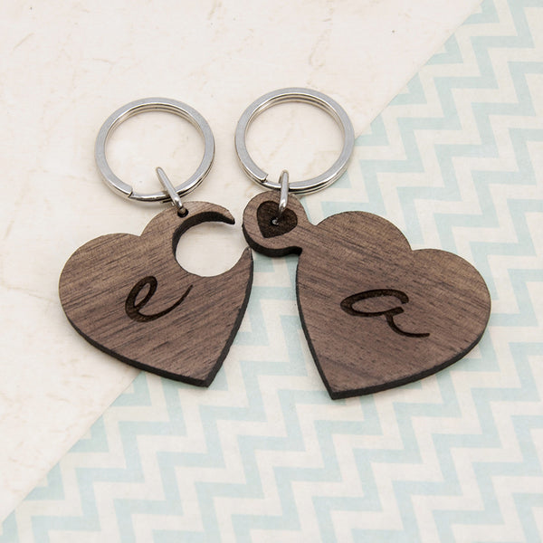 2 Heart Jigsaw Personalised Wooden Key Ring - Couple's Initials