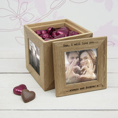 30 Days of Kisses Personalised Oak Photo Cube - Luxe Gift Store