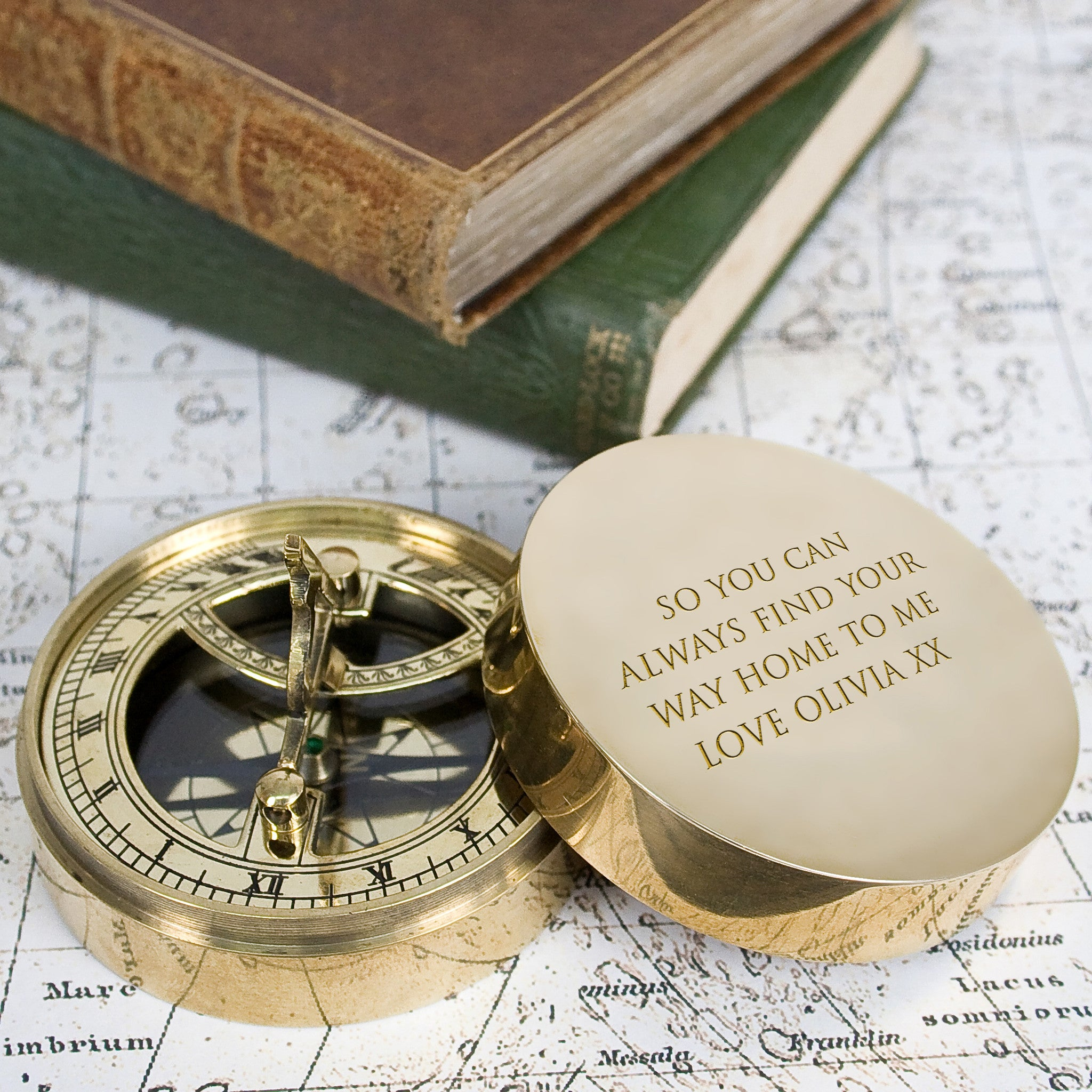 Adventurer\'s Personalised Brass Sundial and Compass – Luxe Gift Store