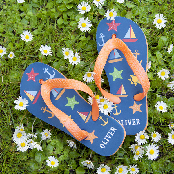 Kid's Personalised Nautical Theme Flip Flops - Navy or Green