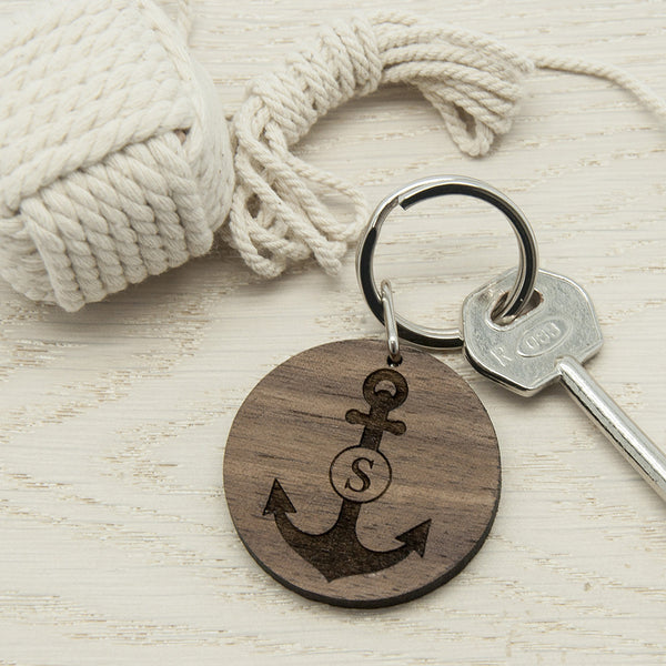 Anchor and Initial Personalised Round Wooden Keyring