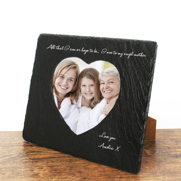Mum's 'Angel Mother' Personalised Heart Slate Photo frame