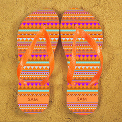 Aztec Style Personalised Flip Flops - Red, Blue or Orange - Luxe Gift Store