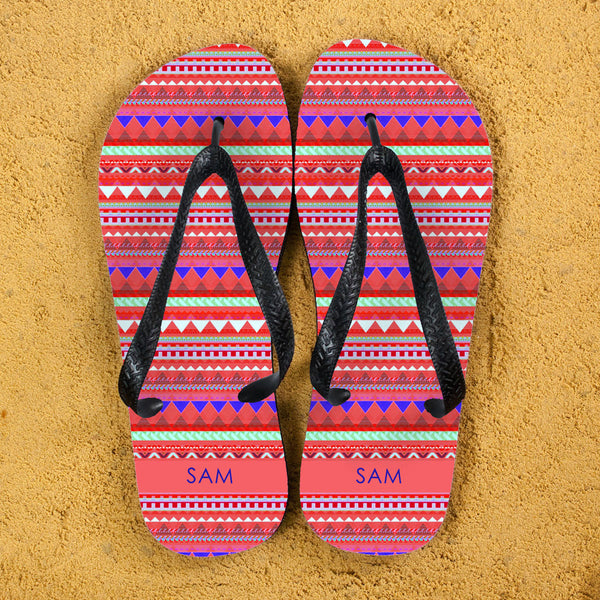 Aztec Style Personalised Flip Flops - Red, Blue or Orange